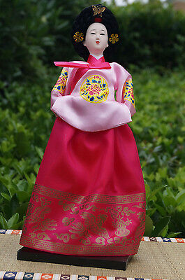 Ancient Traditional Korea Brocade Silk Furnishing Girl Statue Collectible-41