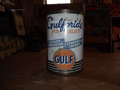 Vintage GulfPride Select Oil Can - 5 Quart - Empty - Gas Station Advertising
