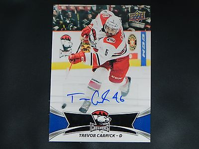 2016-17 Upper Deck UD AHL AUTO #6 Trevor Carrick Charlotte Checkers