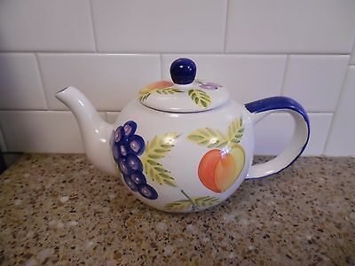 Heritage Mist, Artist Touch, Orchard Jubilee ceramic pitcher.White w/fruit