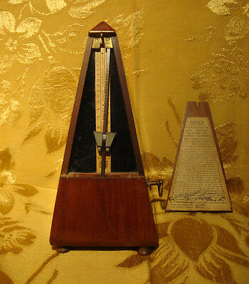 Vintage Maelzel Paquet Metronome Wood Case Made In France