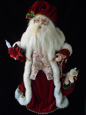 "Old World Santa 27"" Tall with Deep Red Velvet Outfit Trimmed in Faux Fur"