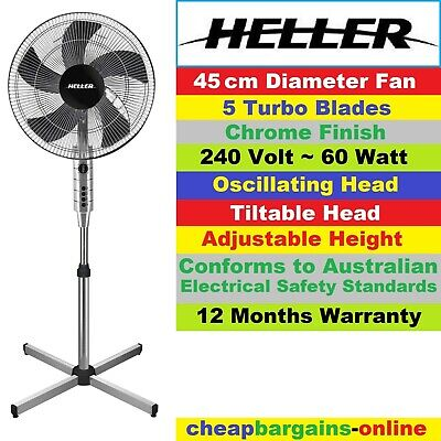 HELLER 50cm PEDESTAL FAN WITH REMOTE CONTROL PORTABLE AIR COOLER CHROME 3 Speeds