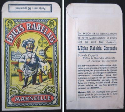 Spice Pouch, Chef w/Pig 1920s French Color Litho - 'Epices Rabelais, Marseille'