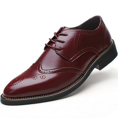 Men's Leather Oxford Lace-ups Classic Brogue Wintip Formal Dress Shoes 4 Colors