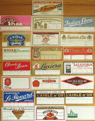 SHOE LABELS: Collection 22 Different 1920s Art Deco File Samples