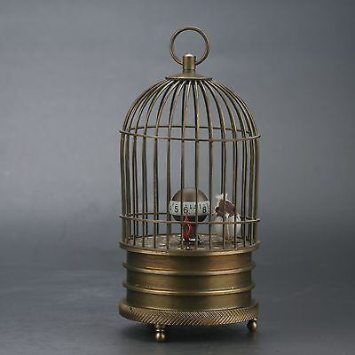 Collectible Old Chinese Brass Handwork Birdcage Mechanical Clock