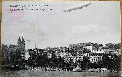 Zeppelin - Airship/Dirigible/Blimp 1908 Aviation Postcard - Basel, Switzerland