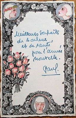 Art Deco Hand-Painted/Original Art 1920s Note Paper/Greeting Card w/Silver