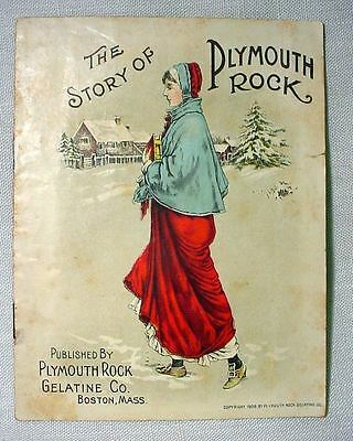 The Story of Plymouth Rock -- Colorful Antique 1908 Gelatin Advertising Booklet