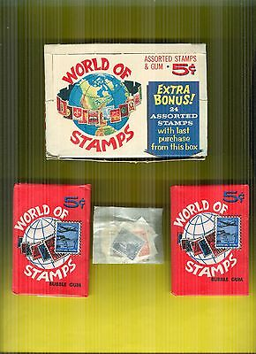 1965 Donruss World of Stamps Full Box 24 Packs + Pkt of Stamps