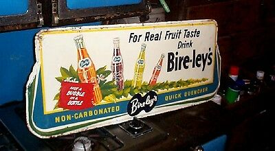 Vintage Bireleys soda pop sign W/ Bottles & Great Graphics lg 36X15