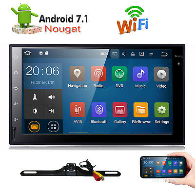 """Android 7.1 7"""" Double DIN Car Radio GPS NOPlayer WIFI BT Navi With Backup Camera"""