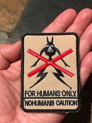 ALIENS District 9 FOR HUMANS ONLY CAUTION Tactical Embroider Hook/Lp Patch