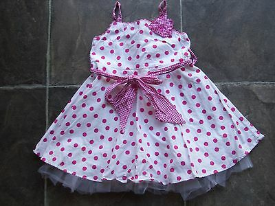 Baby Girl's Pink & White Spotty Frilly Summer Dress Size 0 VGUC