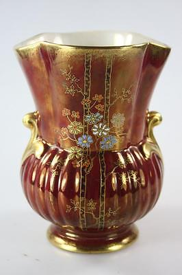 ANTIQUE CROWN DEVON 1920's ART DECO ROUGE RED LUSTRE VASE