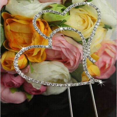 Romantic Wedding Party Cake Topper Rhinestone Crystal Double Heart Decoration