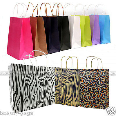 20pcs Kraft Paper Gift Carry Shopping Wedding Party Merchandise Boutique Bags
