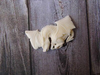 Pendant Necklace Flying Europe Dragon From Buffalo Bone Carved_b256
