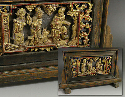 Chinese Antique Wooden Screen 硯屏 / Gilt / W 30.5× D 6.5× H 18.5 [cm]
