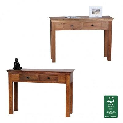 FineBuy Console table Solid wood console desk 110 x 40 cm farmhouse sideboard