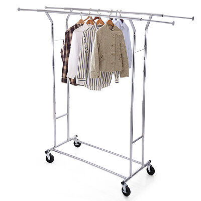 Double Heavy Duty Clothing Garment Collapsible Rolling Chrome Rack Hanger