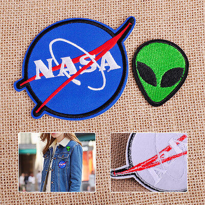 New NASA Alien Head UFO Embroidered Patch Applique Badge Sew Iron On Bag Clothes
