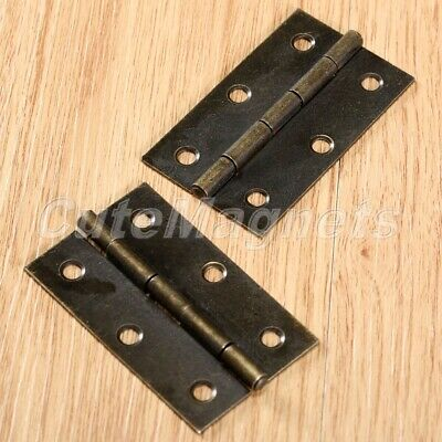 Useful Cabinet Drawer Wood Jewelry Box Chest Mini Hinges Antique Brass 60x38mm