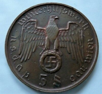 Ww2 Third Reich Germany Nsdap Commemorative Large Coin 5 Schilling Gau Wien
