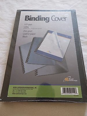 100 Pack Royal Sovereign Binding Covers 250gm Leather Paper Black Letter