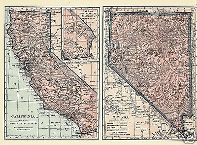 Map U S States CA NV WA CO 1927 Lithograph 4 Maps C S Hammond Color Maps