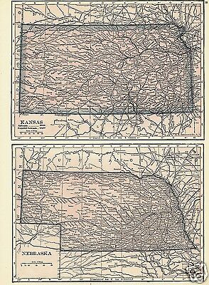 1927 Map U S States KS NE ND SD Lithograph 4 Maps C S Hammond Color Maps