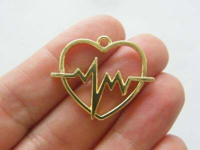 4 Heart and heart rate beat charms gold plated tone GC383