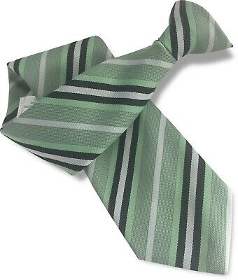 Light Mint Green Mens Clip On Tie Clipper with Black + White Stripes Safety Tie