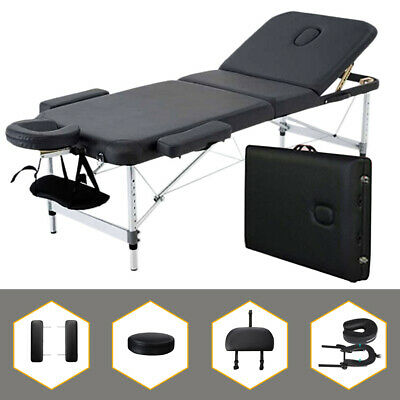 "3-Section Black Aluminum 84""L Portable Massage Table Facial SPA Bed Tattoo"