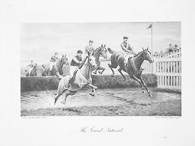 OLD ANTIQUE PRINT THE GRAND NATIONAL HORSE RACING AINTREE WATER JUMP c1900