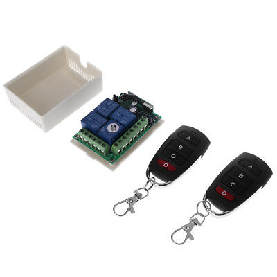 12V 4CH Channel Relay Wireless RF Remote Control Switch Receiver + 2 Transmitter