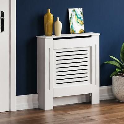 Milton Radiator Cover Small Natural MDF Modern White Cabinet Heating Guard