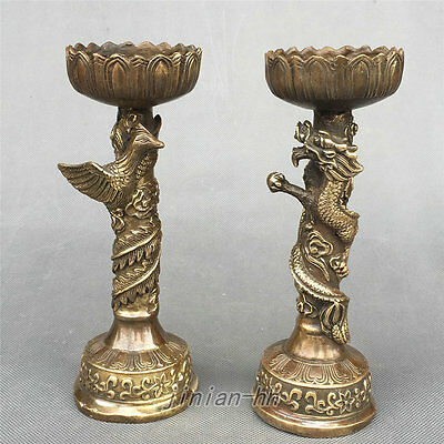 Chinese Bronze Dragon Dragons Phoenix Candle Stick Oil Lamp Statue Pair