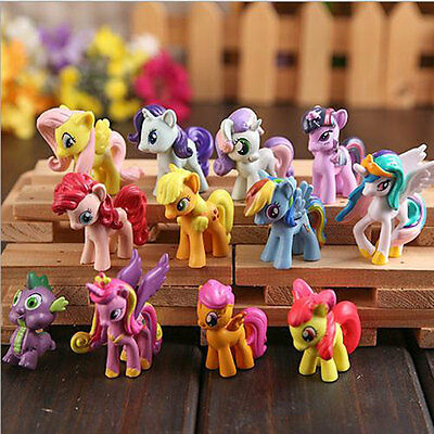 12 Pieces My Little Pony PVC Action Figure Cake Topper Kid Girl Figures Play Set