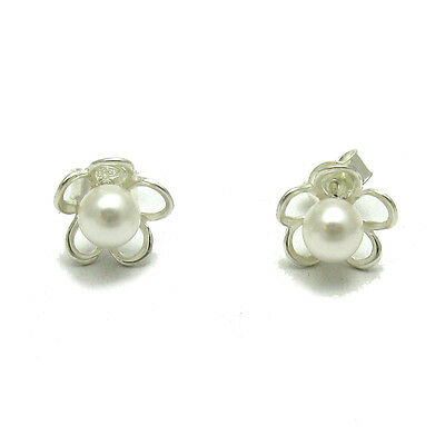 STERLING SILVER EARRINGS SOLID 925 SMALL FLOWERS WITH 6mm PEARLS E000598P