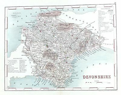 OLD ANTIQUE MAP DEVONSHIRE c1840's ENGRAVING by J ARCHER