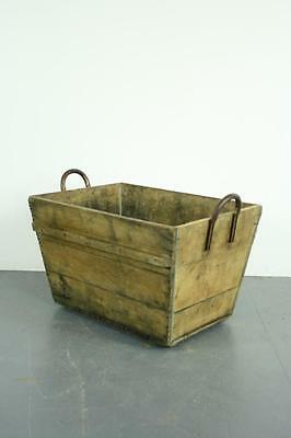 Vintage French Champagne Grape Box Wooden Crate Bushel Box Metal Handles #1974