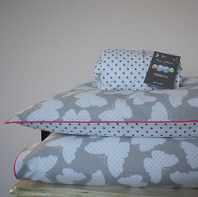 100%COTTON Cot Bed Duvet Cover Set Girls Grey Butterfly Dots pink piping