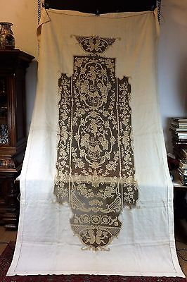 Curtain Or Bed Cover. With Linen. Applications Of Embroidery . Spain. Xix-Xx