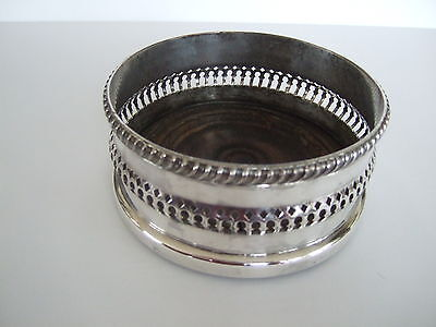 Large antique silver plate pierced work gadroon trim champagne bottle coaster