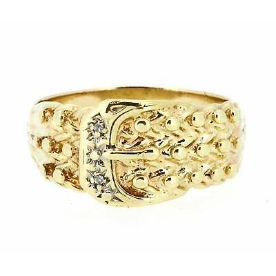 Gents Hallmarked 9ct Yellow Gold Diamond Buckle Ring Size Z