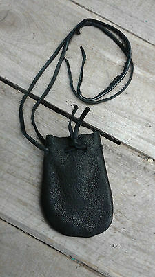 Handmade Black Leather coin Bag/ Pouch  Cinch Top