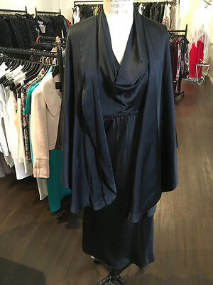 Halston Sz S Black Silk Satin Dress w/ Cape Vintage 1970s