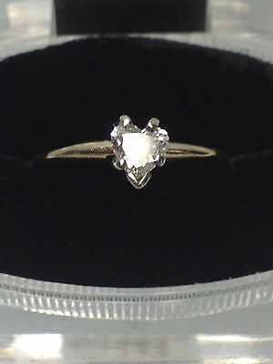 HEART SHAPED .40CT SOLITAIRE GENUINE DIAMOND 14K GOLD ENGAGEMENT RING size 7 1/2
